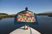 Girl with Blanket on Boat, Andover, Vermont, USA