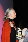 Portrait of the primatologist Jane Goodall with its plush