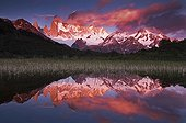 Sunrise over the Fitz Roy mountain Patagonia Argentina