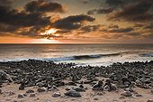 Sunset at the sea lion colony of Cape Cross in Namibia