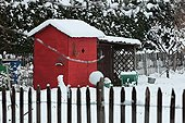 Garden shed under snow in Provence France