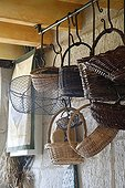 Baskets hanging in a kitchen