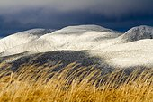 Mount Richardson covered with snow in fall Gaspesie Canada