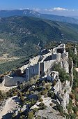 Peyrepertuse Castle in Cathar country and scrubland France  ; Elevation: 800 m