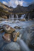Pool and Cascade Fairy Pools - Isle of Skye Scotland ; mountains Cuillins