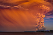 Calbuco Volcano erupting April 2015, the Lake District, Chile. After more than 40 years Calbuco volcano to erupt again, the Chilean authorities evacuated more than 4,000 people who lived nearby.