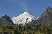 Villarrica Volcano, ninth region of Araucania, Chile. The Villarrica volcano is the most dangerous volcano in Chile and one of the most dangerous of America. Nearby are cities such as Villarrica and Pucon. It last erupted in March 2015.