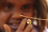 The Honey Ants Dream. An Aborigine child shows us a honeypot ant. Northern Territory, Australia
