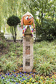Decorated pumpkins for Halloween in an insect hotel, Germany