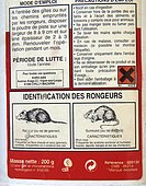 Products for the destruction of rats, harmful acronym, France