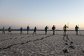 Volunteers at dawn at the Laguna de Fuente de Piedra near the town of Antequera. Waiting for the start of the immature Greater Flamingos (Phoenicopterus roseus) capture event in order to ring them. This is the largest natural lake in Andalusia and Europe's only inland breeding ground for this species. Malaga province, Andalusia, Spain.